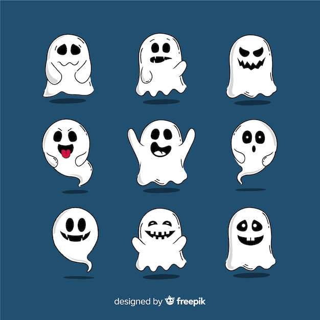 Hand drawn halloween ghost collection Free Vector