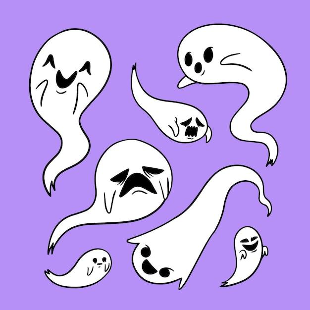 Collezione di fantasmi di halloween disegnata a mano Vettore gratuito
