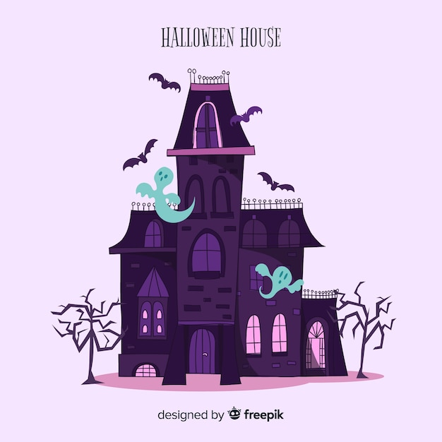 Hand drawn halloween haunted house background Free Vector