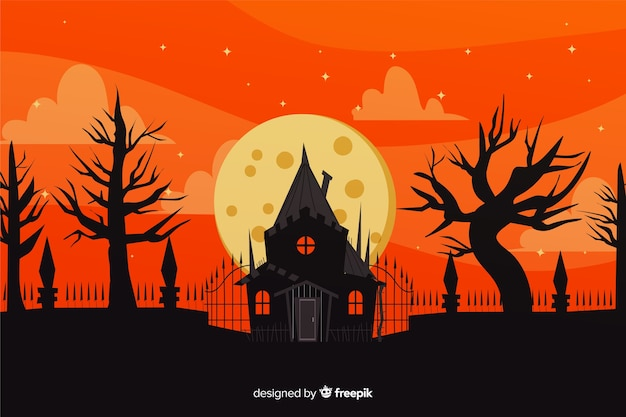Free Vector | Hand drawn of halloween haunted house background