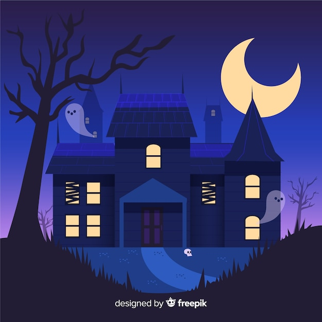 Hand drawn halloween haunted house by ghosts Free Vector