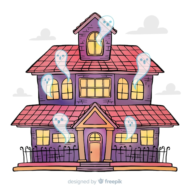 Hand drawn halloween haunted house Free Vector