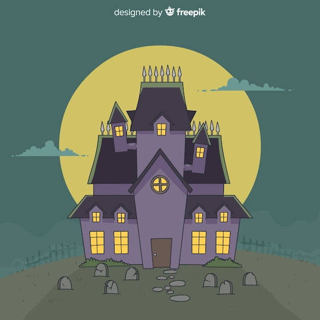 Hand drawn halloween haunted house | Free Vector