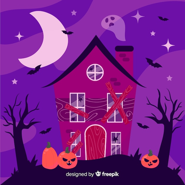 Hand drawn halloween haunted house Vector | Free Download