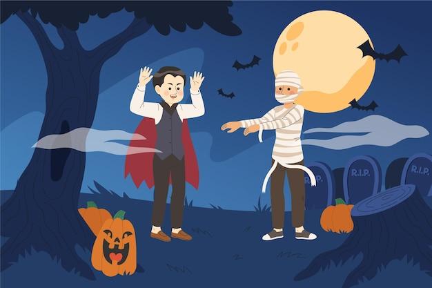 Ручной обращается хэллоуин иллюстрация фон Бесплатные векторы
