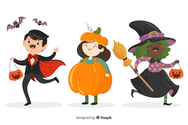 Hand drawn halloween kid collection on white background Free Vector