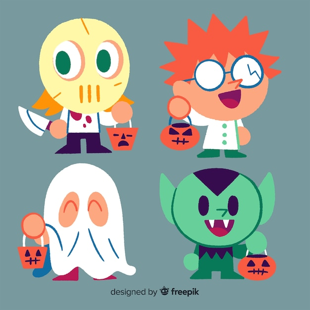 Hand drawn halloween kid collection with costumes Free Vector