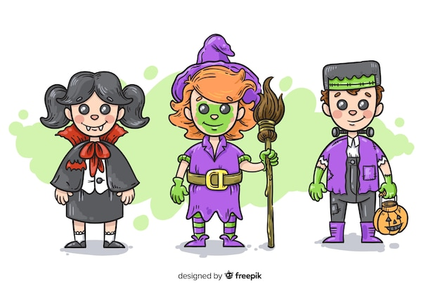 Hand drawn halloween kid collection Free Vector