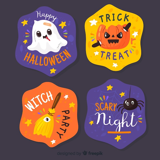 Hand drawn halloween label and badge collection on black background Free Vector