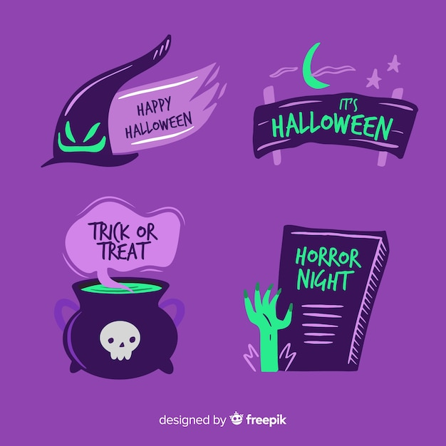 Hand drawn halloween label and badge collection Free Vector