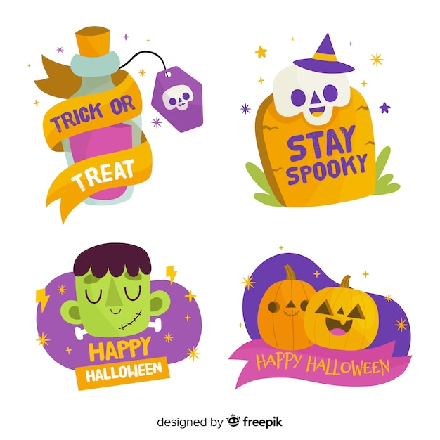 Hand drawn halloween label or badge collection Free Vector
