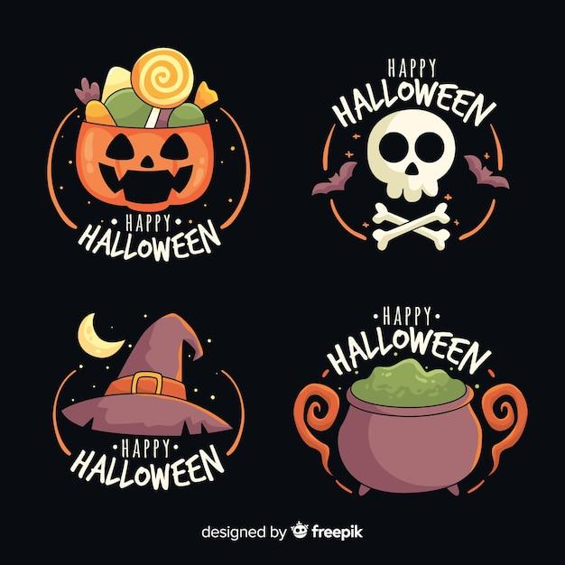 Hand drawn halloween label collection Premium Vector
