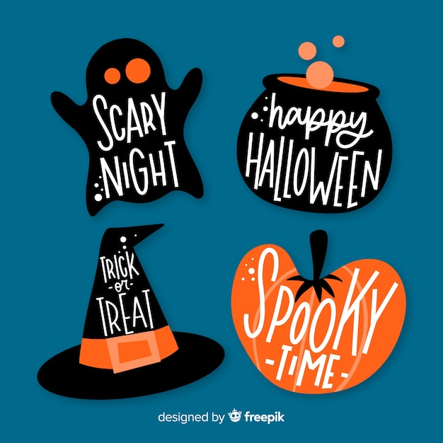 Hand drawn halloween label collection Free Vector
