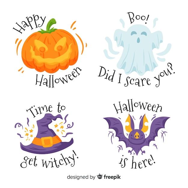 Hand drawn halloween label set Free Vector