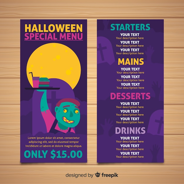 hand drawn halloween menu template vector free download