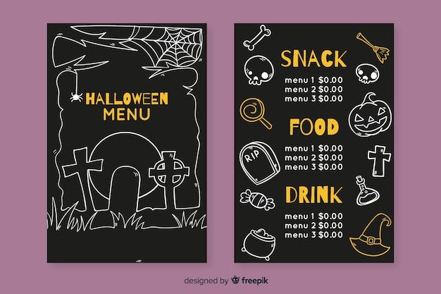Hand drawn halloween menu template Free Vector