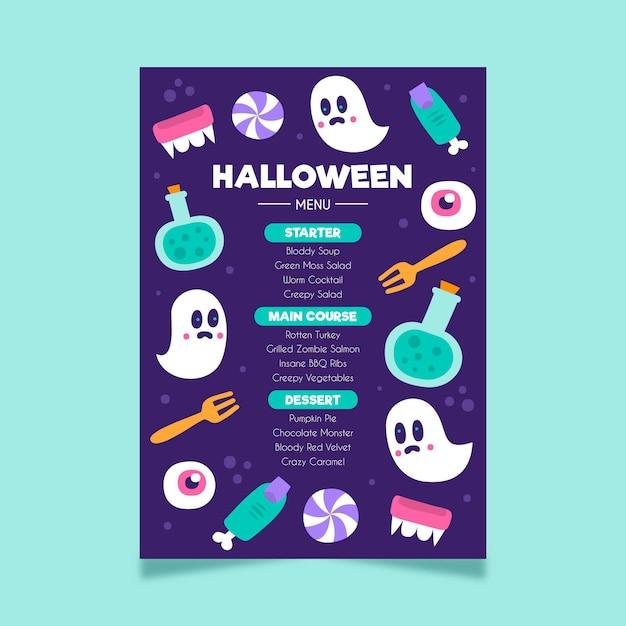 Modello di menu di halloween disegnato a mano Vettore gratuito