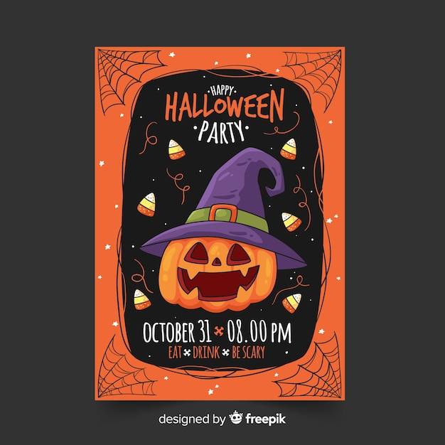 Hand drawn halloween party flyer template with pumpkin Free Vector