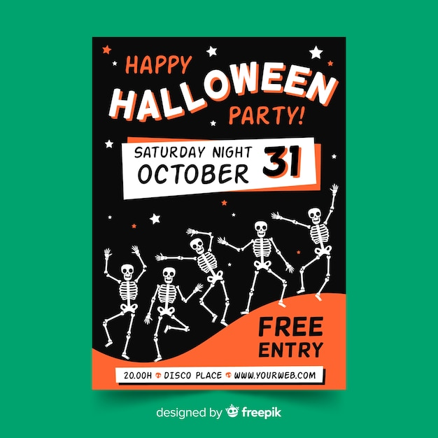 Hand drawn halloween party flyer template with skeletons Free Vector
