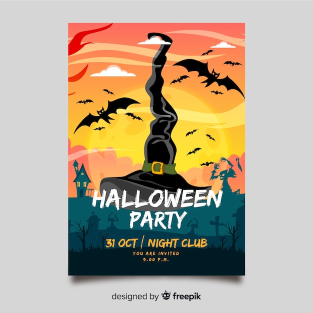 Hand drawn halloween party flyer template Free Vector