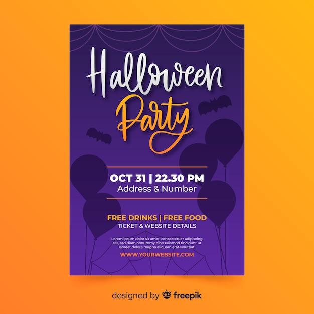 Нарисованный рукой шаблон плаката вечеринки в честь хэллоуина Бесплатные векторы
