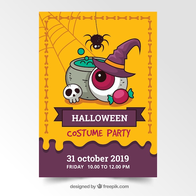 Hand drawn halloween party poster template Free Vector