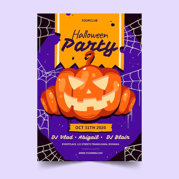 Halloween 2020 Poster Drawn Free Vector | Hand drawn halloween party poster template