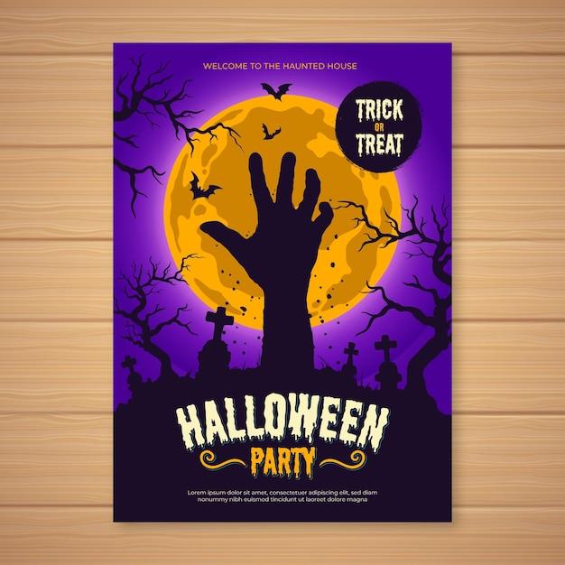 Modello di manifesto festa di halloween disegnato a mano Vettore gratuito