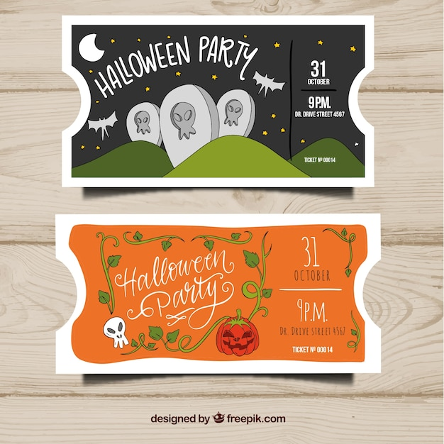 Hand drawn halloween party tickets Free Vector
