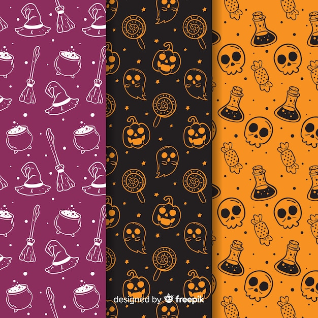 Hand drawn halloween pattern collection in negative Free Vector