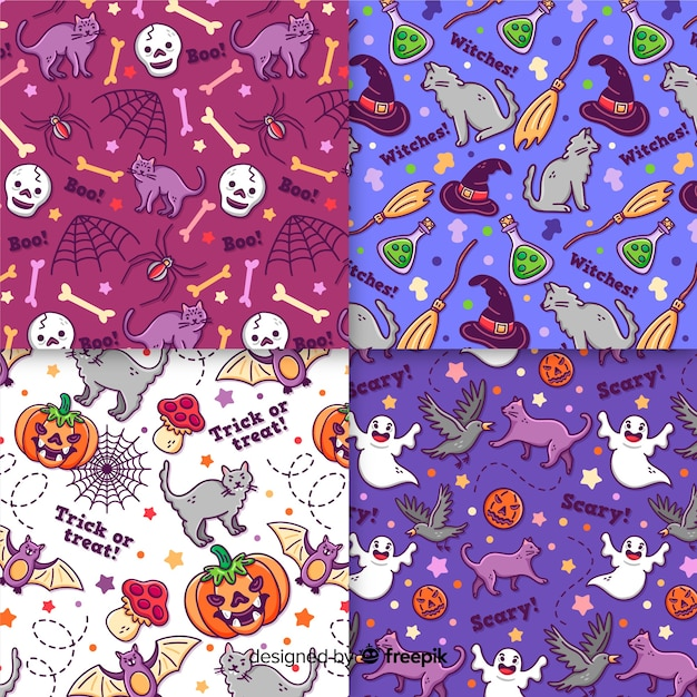 Hand drawn halloween pattern collection on purple and violet colored shades Free Vector