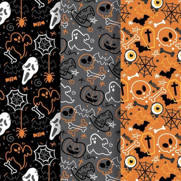 Нарисованная от руки тема коллекции хэллоуин Premium векторы