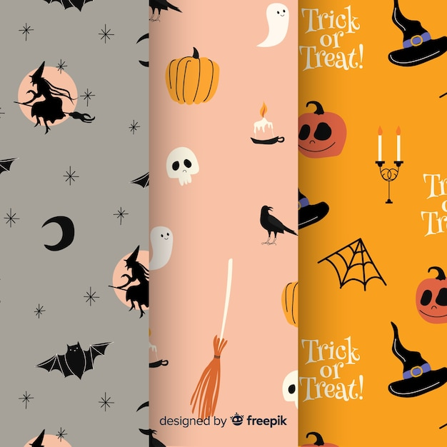 Hand drawn halloween pattern collection Free Vector