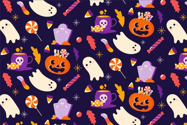 Hand drawn halloween pattern with pumpkin and ghost Free Vector