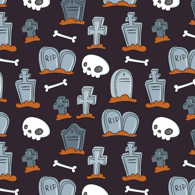 Hand drawn halloween pattern Free Vector