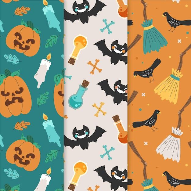 Insieme di modelli di halloween disegnati a mano Vettore gratuito