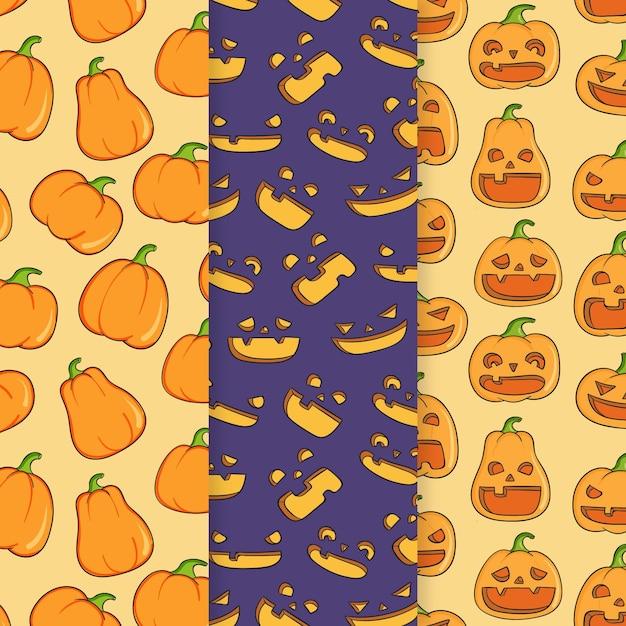 Hand drawn halloween patterns Free Vector