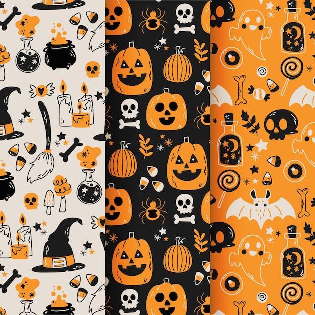 Hand drawn halloween patterns Premium Vector