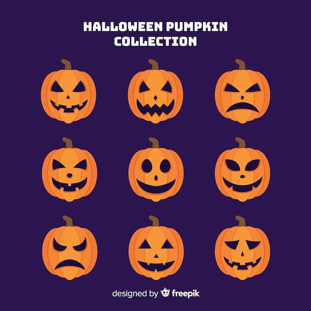 Hand drawn halloween pumpkin collection on purple background Free Vector