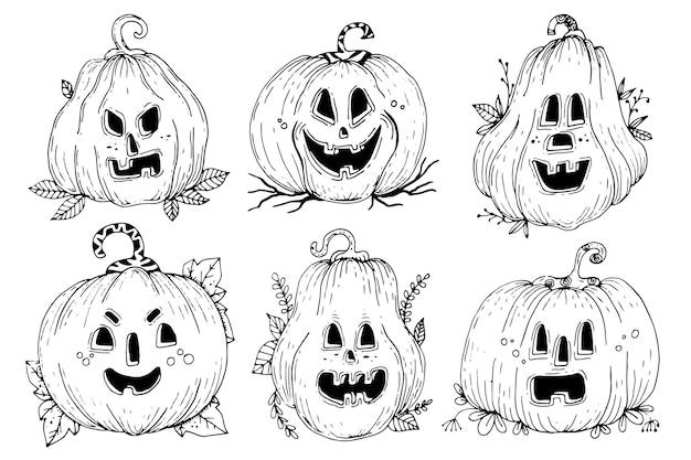 Нарисованная от руки тема коллекции тыкв на хэллоуин Бесплатные векторы