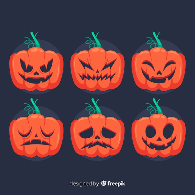 Hand drawn halloween pumpkin collection with faces Free Vector