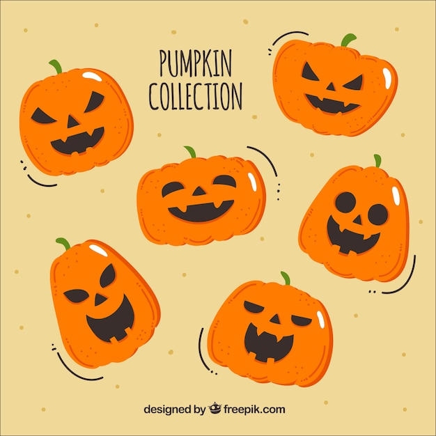 Hand drawn halloween pumpkin collection Free Vector