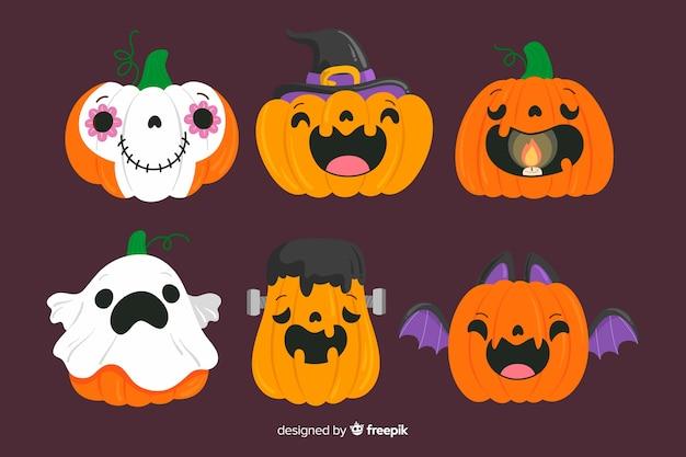Hand drawn halloween pumpkin collection Free Vector