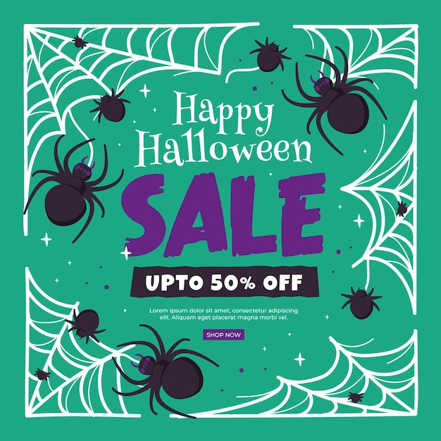 Hand drawn halloween sale banner with spiders Premium Vector