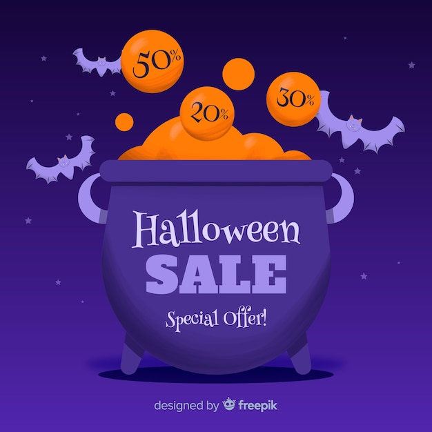 Hand drawn halloween sale with melting pot filled with money Free Vector