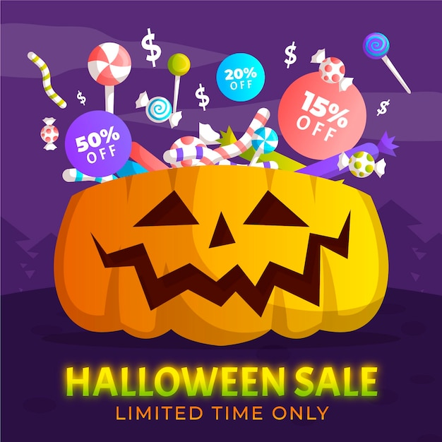 Hand drawn halloween sale with pumpkin and candy Free Vector
