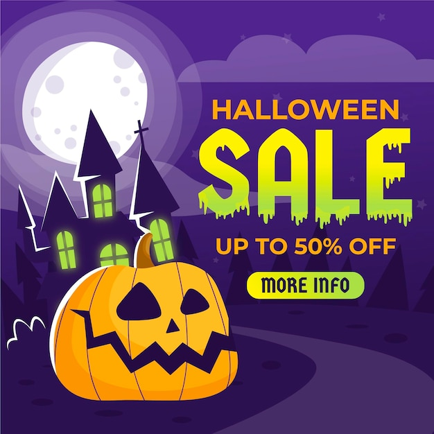 Hand drawn halloween sale with pumpkin and house Free Vector