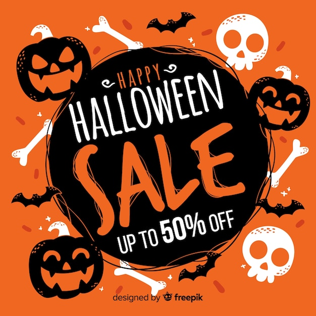Hand drawn halloween sale with pumpkins and skulls Free Vector