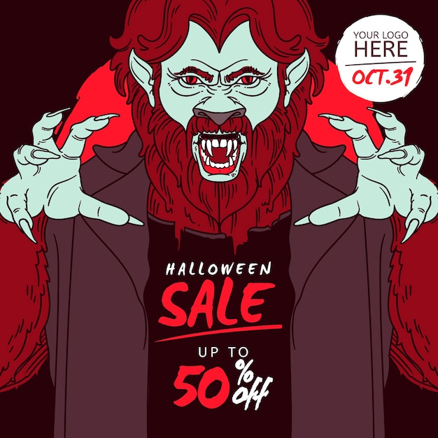 Hand drawn halloween sale Free Vector