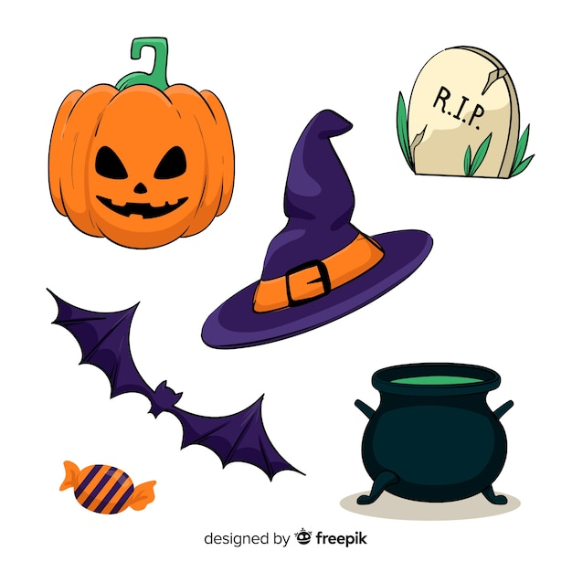 Hand drawn halloween set of cute elements Free Vector